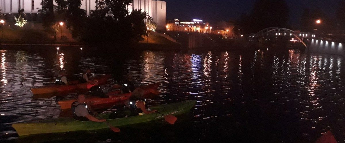 Night kayaking from the Mill Island to the Zimne Wody